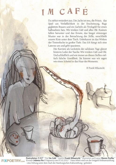 Im Café/Gedicht: Frank Milautzcki